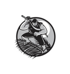 Samoan Ninja on top of Coconut Front Circle vector