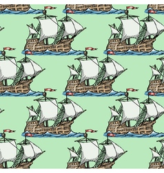 Seamless background with caravel vector