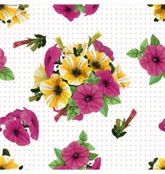 Seamless pattern petunias vector