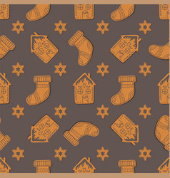 seamless pattern with gingerbread cookies vector image