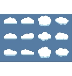 Set of clouds in the blue sky vector image