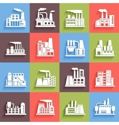 Set of industrial manufactory buildings icons set vector image