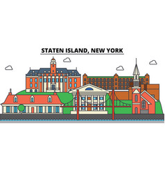staten island new york city skyline vector image