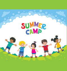 summer camp children design template with logo vector image