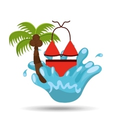 Swimsuit water splash palm summer vacation vector
