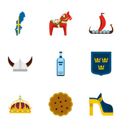 symbols of sweden icons set flat style vector image
