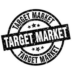 Target market round grunge black stamp vector