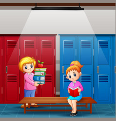 Teacher with girl is reading a book in locker vector