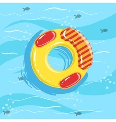 Toy Inflatable Ring With Blue Sea Water On vector image
