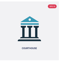 Two color courthouse icon from insurance concept vector