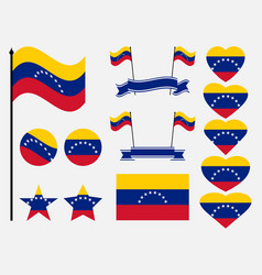venezuela flag set symbols flag in heart vector image