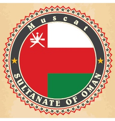 Vintage label cards of Oman flag vector image