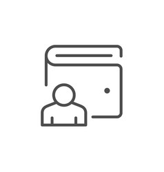 wallet user line outline icon vector image