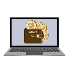 Wallet with iota coins on a laptop screen vector
