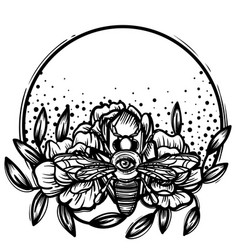 Witchcraft bee with eye occult bee magic vector