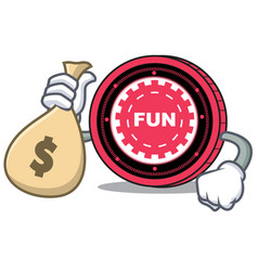 with money bag funfair coin character cartoon vector image