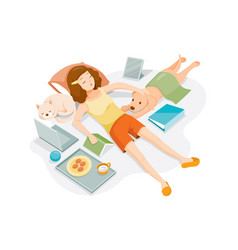 Woman stays home stay safe works from home vector