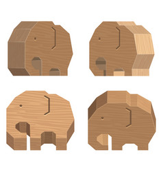 Wooden handcraft elephant set on white background vector