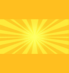 yellow rays background pop art vector image