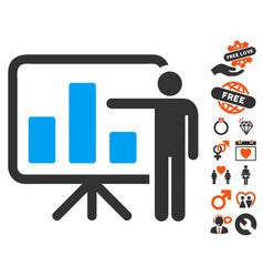 bar chart presentation icon with valentine bonus vector image