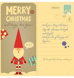 Vintage Postcard with Santa vector image vector image