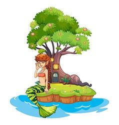 A beautiful mermaid near the treehouse vector image