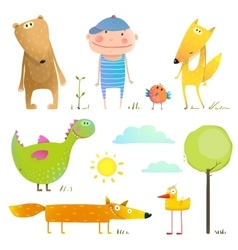 Collection cartoon animals and child for kids vector image