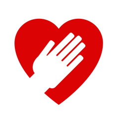 hand on heart icon vector image vector image