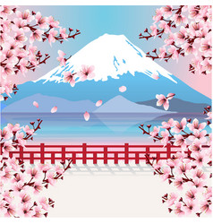 mountain with cherry blossom flowers vector image vector image