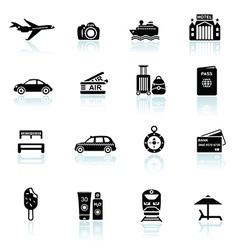 Travel icons black on white vector image