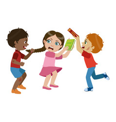 two boys bullying a girl part of bad kids vector image