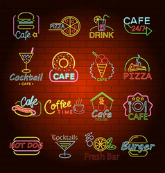 fast food neon shop sign icons set flat style vector image