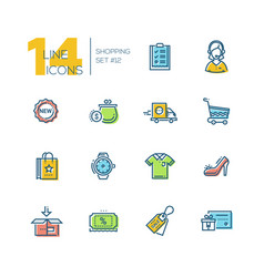 shopping - thick line icons set vector image