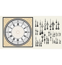 Vintage Clock dial with set hands in the Victorian vector image