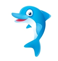Cute Blue Dolphin Smiling vector image