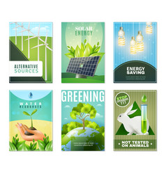 ecology 6 mini banners collection vector image