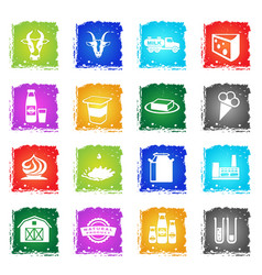 milk industry icons vector image