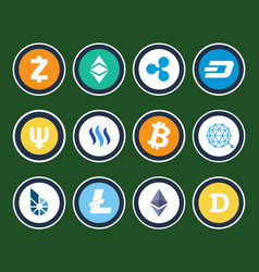 modern cryptocurrency signs inside circles set vector image vector image