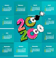 2020 comic text calendar template pop art vector image
