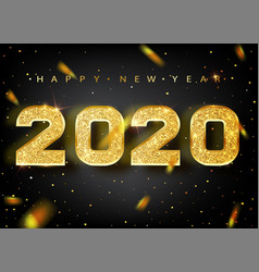 2020 happy new year gold numbers design of vector image