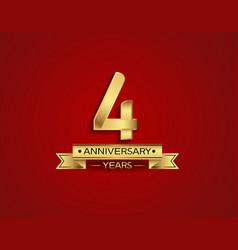 4 years anniversary golden design color vector