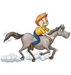 A boy riding a horse vector image vector image