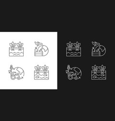 Agribusiness linear icons set for dark and light vector