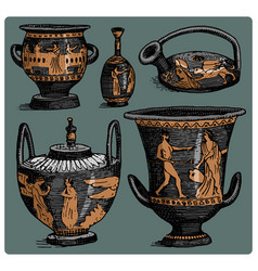 Ancient greece antique amphora set vase vector