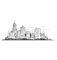 artistic drawing sketch generic city high rise vector image