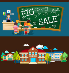 Back to school set of pictographs childrens life vector