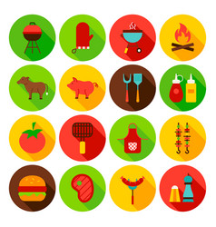 barbecue food circle icons set vector image