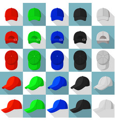 baseball cap views icons set flat style vector image