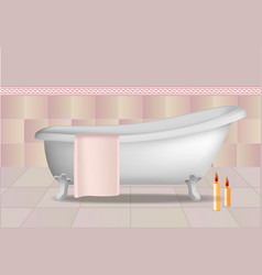 bathtub and candles concept background realistic vector image