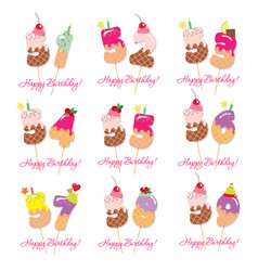 birthday card set festive sweet numbers from 51 vector image